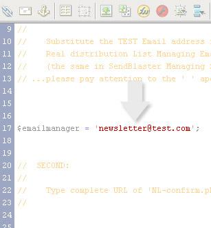 Secondo passaggio, configurazione codice html