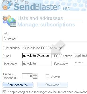quarto passaggio, configurazione di SendBlaster